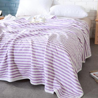 私享家家纺针织棉夏被 150x200cm 紫色条纹