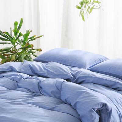 私享家2017新品无印良品风格人字斜纹棉四件套套件全棉套件 1.8m(6英尺)床 湛蓝