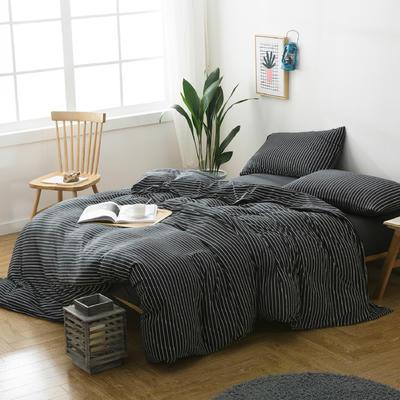针织四件套新款黑白细条 1.5m(5英尺)床 黑白细条
