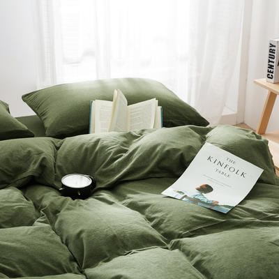 针织棉四件套新品烟草绿 1.5m(5英尺)床 烟草绿
