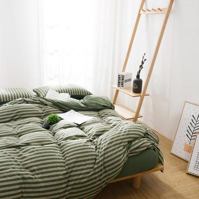 针织棉四件套新品烟草绿条纹 1.5m(5英尺)床 烟草绿条纹