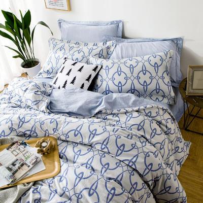 双层纱色织大提花四件套盗梦空间-蓝 1.5m(5英尺)床 盗梦空间-蓝