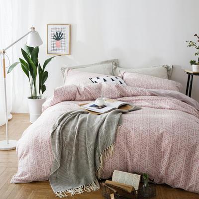 双层纱色织大提花四件套几何角度-粉 1.5m(5英尺)床 几何角度-粉