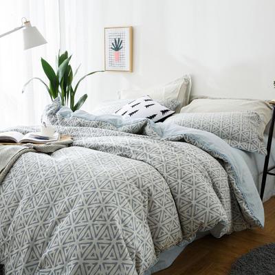双层纱色织大提花几何角度-灰蓝 1.5m(5英尺)床 几何角度-灰蓝