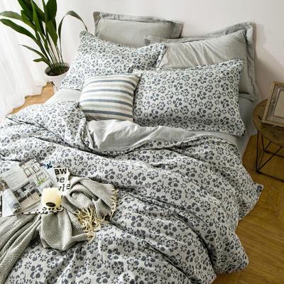 双层纱色织大提花四件套梦境花园-灰 1.5m(5英尺)床 梦境花园-灰