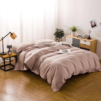 色织棉麻四件套暗粉 1.8m(6英尺)床 暗粉