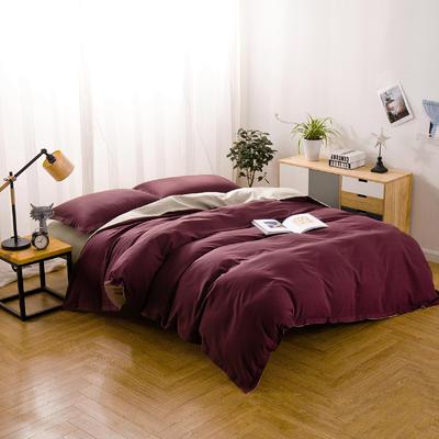 色织棉麻四件套绛紫 1.8m(6英尺)床 绛紫