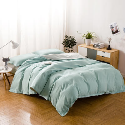 色织棉麻四件套水蓝 1.8m(6英尺)床 水蓝