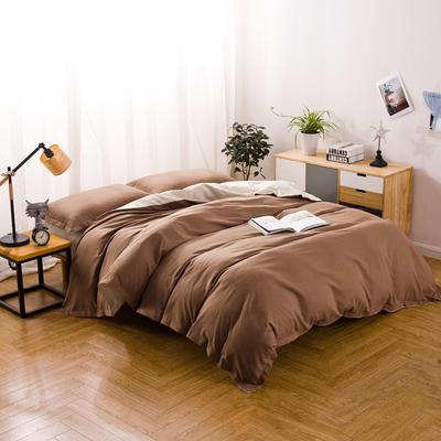 色织棉麻四件套赭黄 1.8m(6英尺)床 赭黄