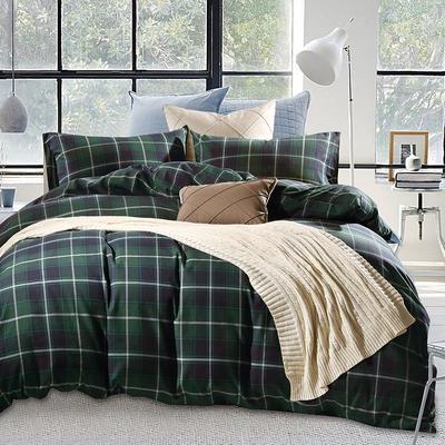 棉法兰绒---绿格 1.5m(5英尺)床 绿色格纹