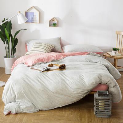 针织棉四件套粉灰条 1.5m(5英尺)床 条(粉灰)