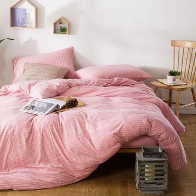 针织棉四件套粉细条 1.5m(5英尺)床 条(粉细)