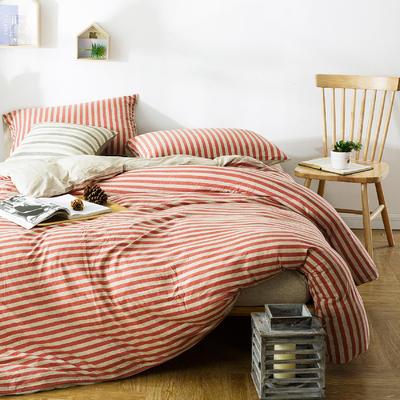 针织四件套红色条纹 1.5m(5英尺)床 红色条纹
