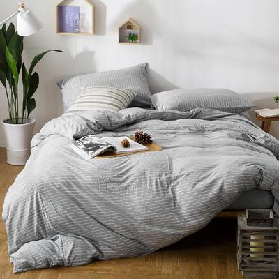 针织棉四件套灰条 1.5m(5英尺)床 条(灰)