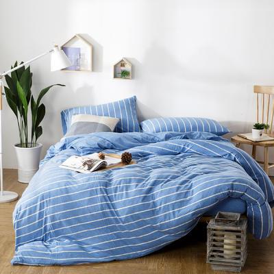 针织棉四件套亮蓝条 1.5m(5英尺)床 条(亮蓝)