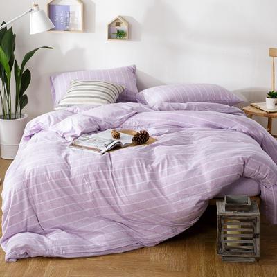 针织棉四件套紫荷宽条 1.5m(5英尺)床 宽条(紫荷)