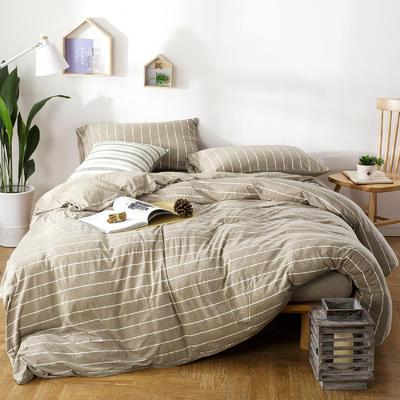 针织棉四件套卡其宽条 1.5m(5英尺)床 卡其宽条
