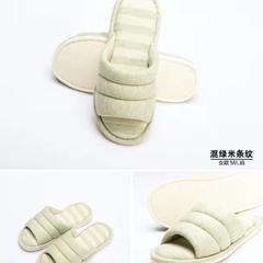 2017 新款针织棉拖鞋 男款(M均码) 混绿米条纹