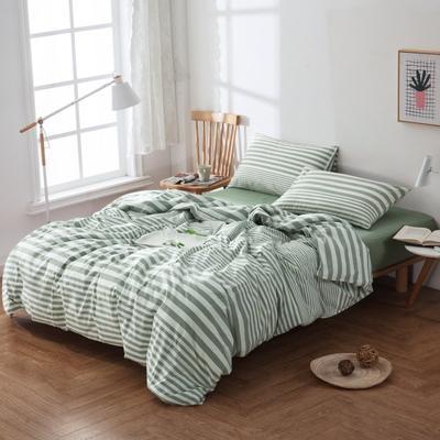 水洗棉四件套---豆绿条 1.5m(5英尺)床 豆绿条