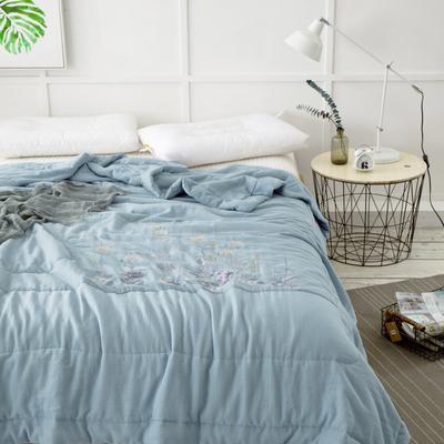 双层纱夏被---深蓝色 200X230cm 深蓝色
