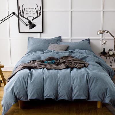 色织磨毛套件---靛蓝 1.8m(6英尺)床 靛蓝