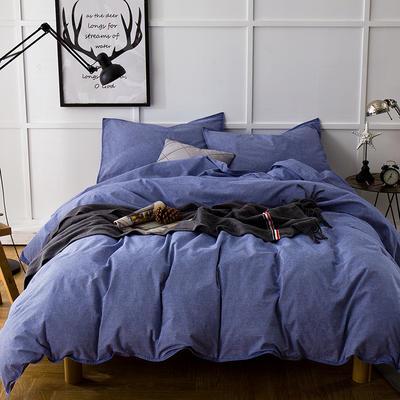 色织磨毛套件---蓝色 2.0m(6.6英尺)床 蓝色