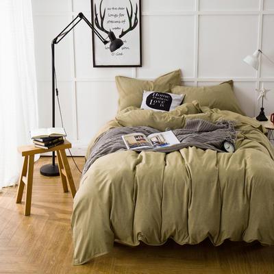 色织磨毛套件---米黄 2.0m(6.6英尺)床 米黄