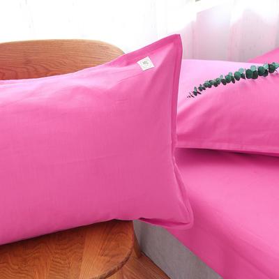 棉麻磨毛四件套-玫红 1.8m(6英尺)床 玫红