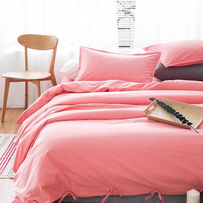 棉麻磨毛四件套-西瓜红 1.8m(6英尺)床 西瓜红