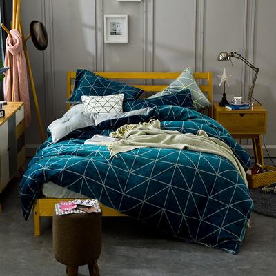 条格阳光暖绒—墨绿 1.5m(5英尺)床 墨绿