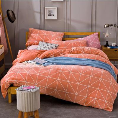 条格阳光暖绒—浅橘 1.5m(5英尺)床 浅橘