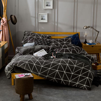 条格阳光暖绒—深咖 1.5m(5英尺)床 深咖
