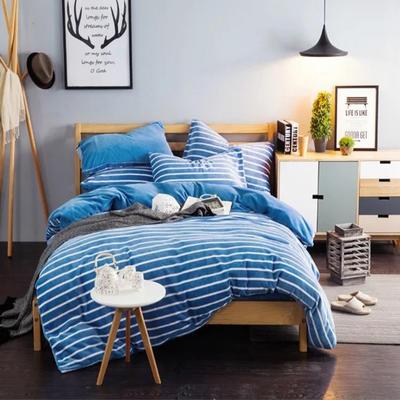 条纹阳光暖绒—宝蓝 1.5m(5英尺)床 宝蓝