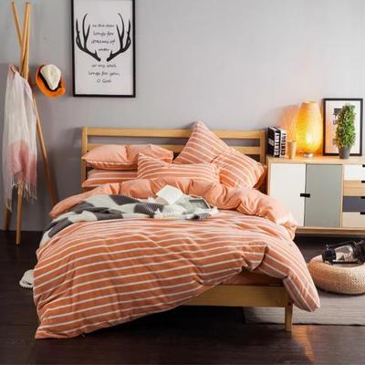 条纹阳光暖绒—浅桔 1.5m(5英尺)床 浅桔