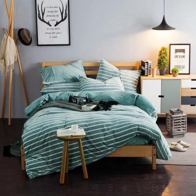 条纹阳光暖绒—浅绿 1.5m(5英尺)床 浅绿
