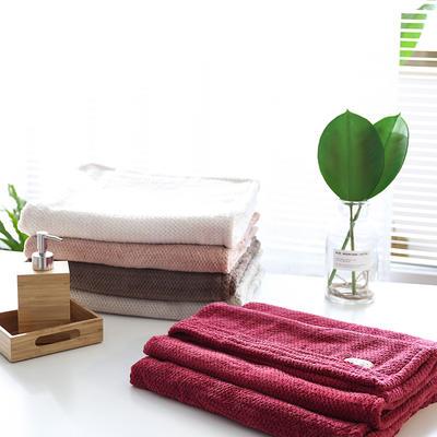 提花浴巾 70*140CM 枚红色
