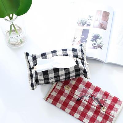 格子纸巾盒 17*30CM 黑格