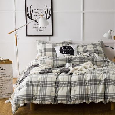 棉法兰绒---灰白格纹 1.5m(5英尺)床 灰白格纹