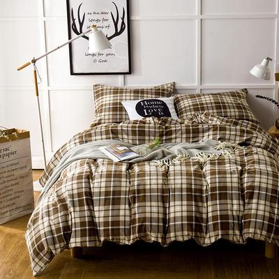 棉法兰绒--- 咖色格纹 1.5m(5英尺)床 咖色格纹