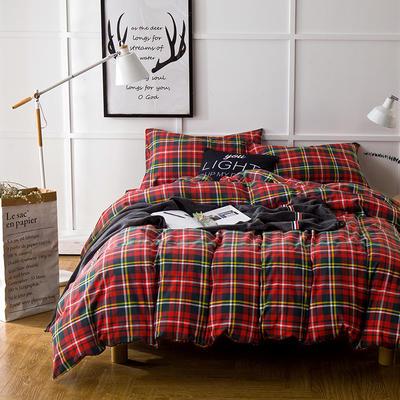 棉法兰绒---新红格纹 1.5m(5英尺)床 新红格纹