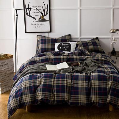 棉法兰绒---丈青格纹 1.5m(5英尺)床 丈青格纹