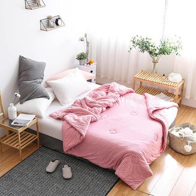 全棉针织棉冬被———粉细条 150x200cm 粉细条