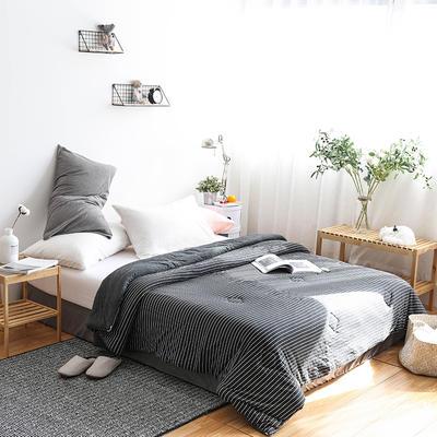 全棉针织棉冬被———黑白细条 150x200cm 黑白细条