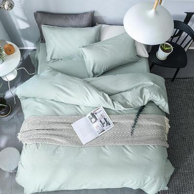全棉纺麻色布四件套 1.8m(6英尺)床 素雅凝香-豆绿