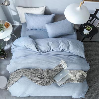 全棉纺麻色布四件套 1.8m(6英尺)床 素雅凝香-牛仔蓝