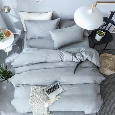 全棉纺麻色布四件套 1.8m(6英尺)床 素雅凝香-浅灰