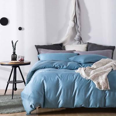 双色优纺四件套 1.8m(6英尺)床 典雅蓝