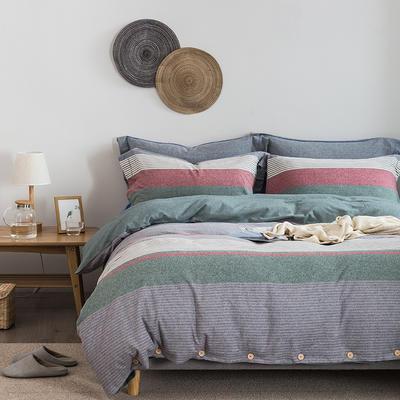 英伦条系列色织拉绒四件套 1.8m(6英尺)床 英伦条-绿色