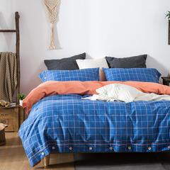 生态磨毛四件套 1.5m(5英尺)床 奥维多(蓝)