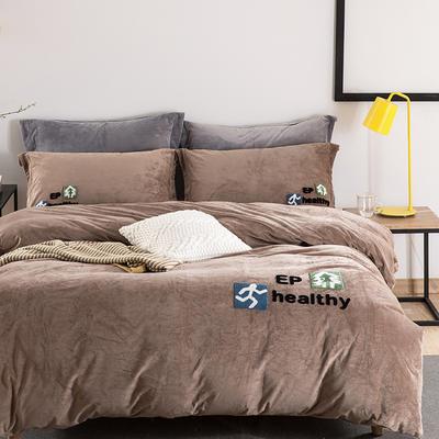 有氧健康系列暖绒绒四件套 1.8m(6英尺)床 有氧健康-驼色